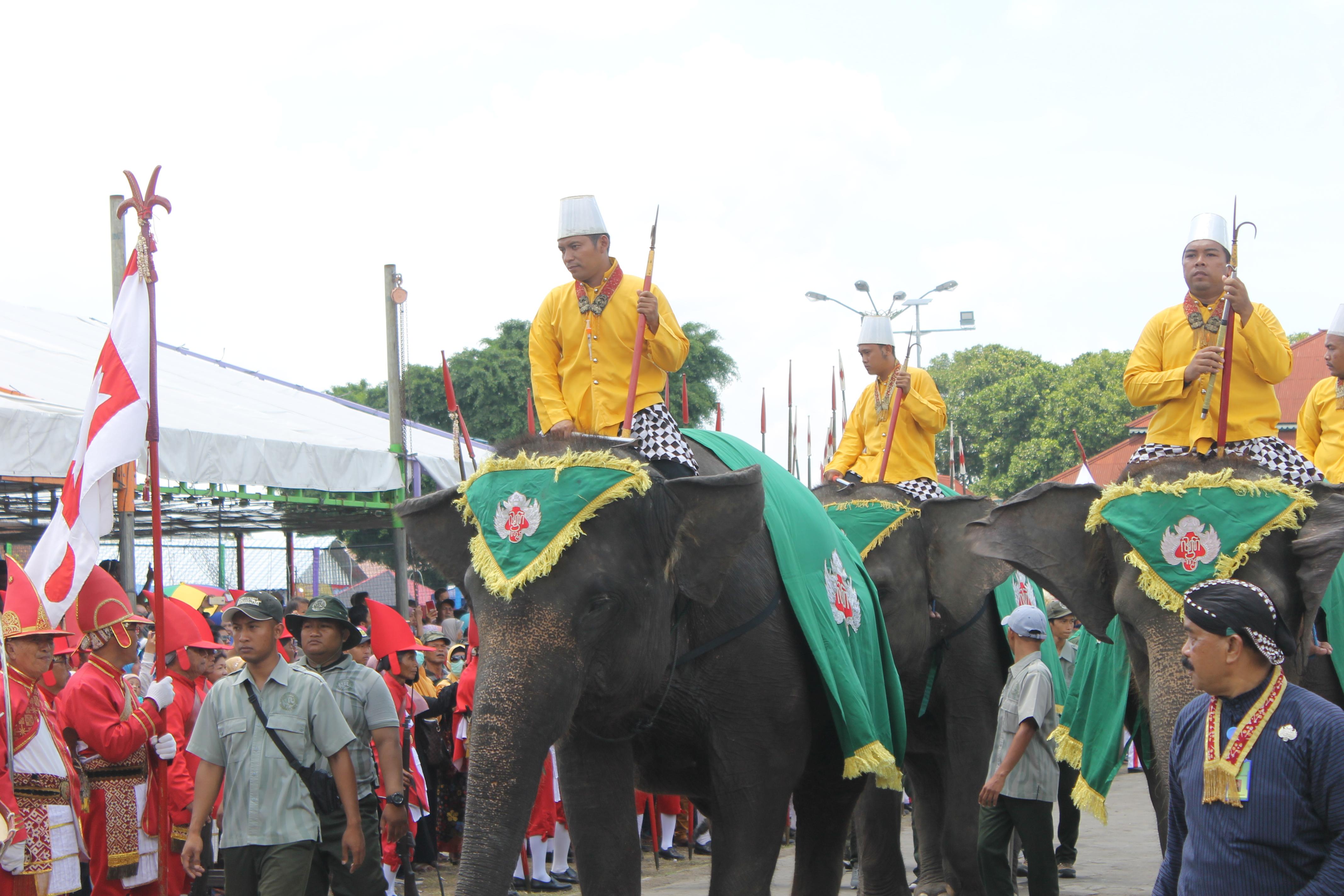 Beberapa Gunungan dibawa menuju Puro Pakualaman dan Kepatihan dengan dikawal empat ekor gajah dan sejumlah prajurit.(Foto : Ilham/Ekonomika)